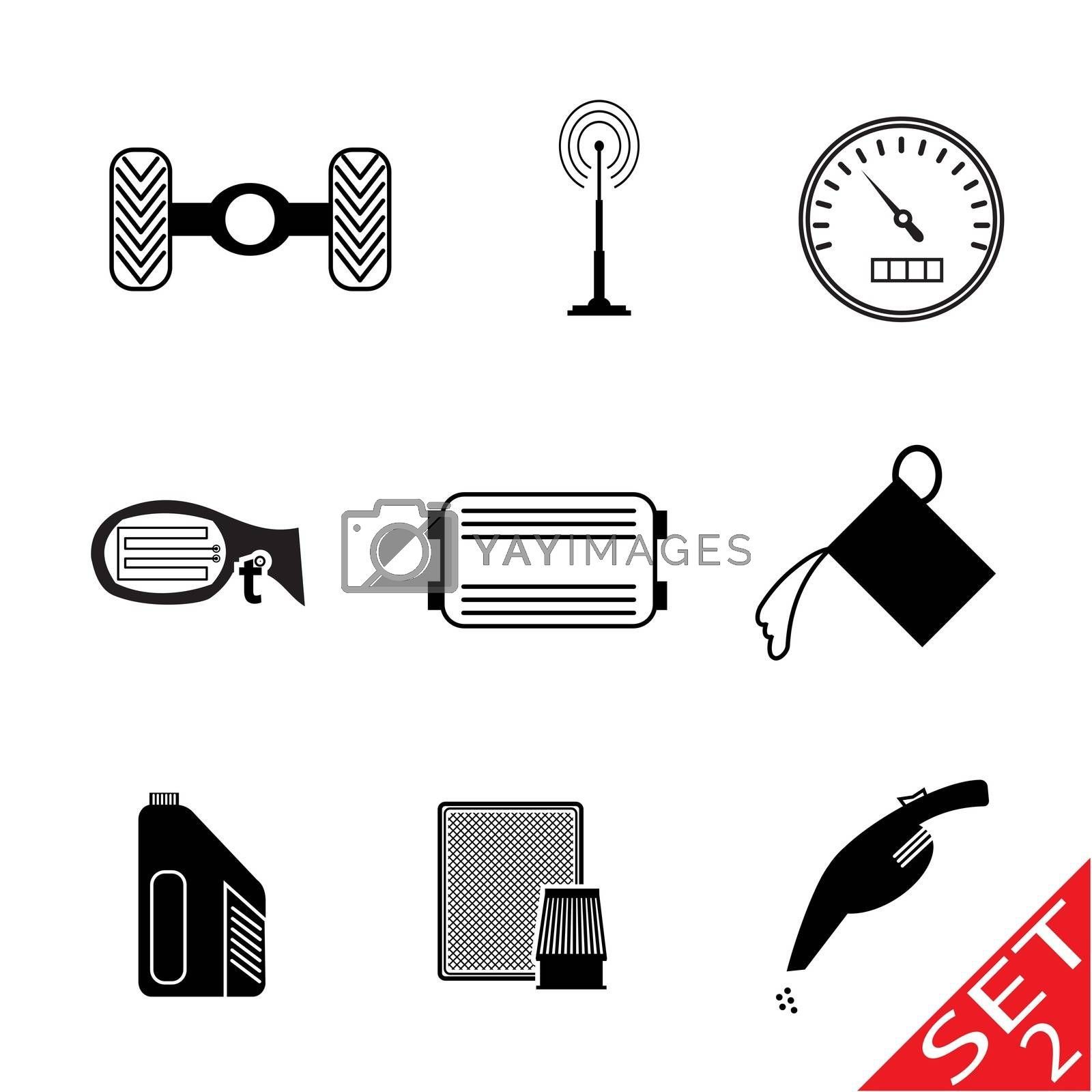 Car icon parts and accessories. Vector Illustration.