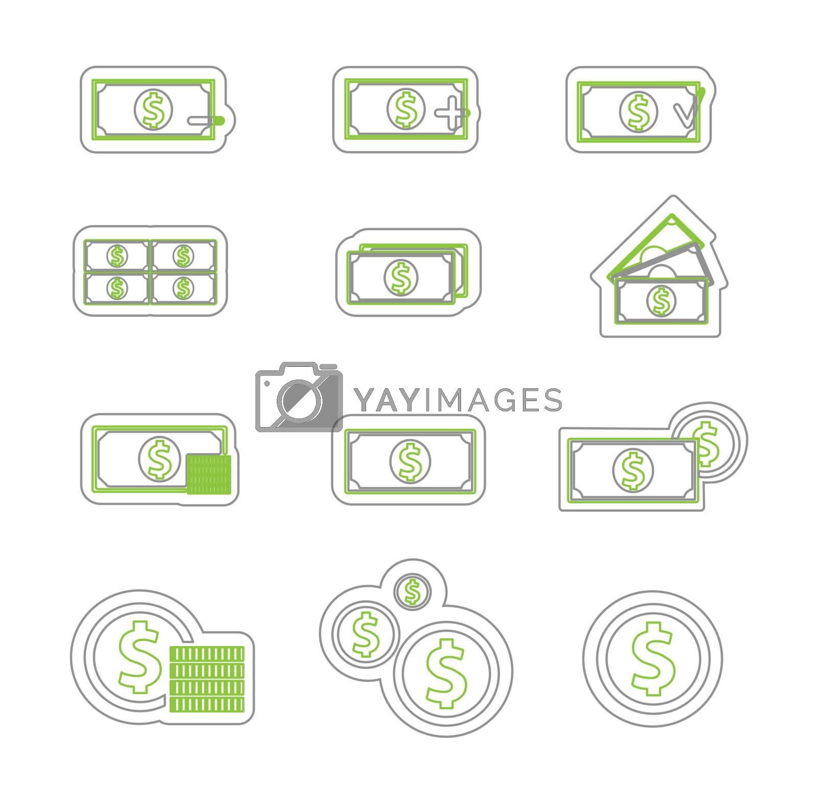 Money icon duoton by smoki