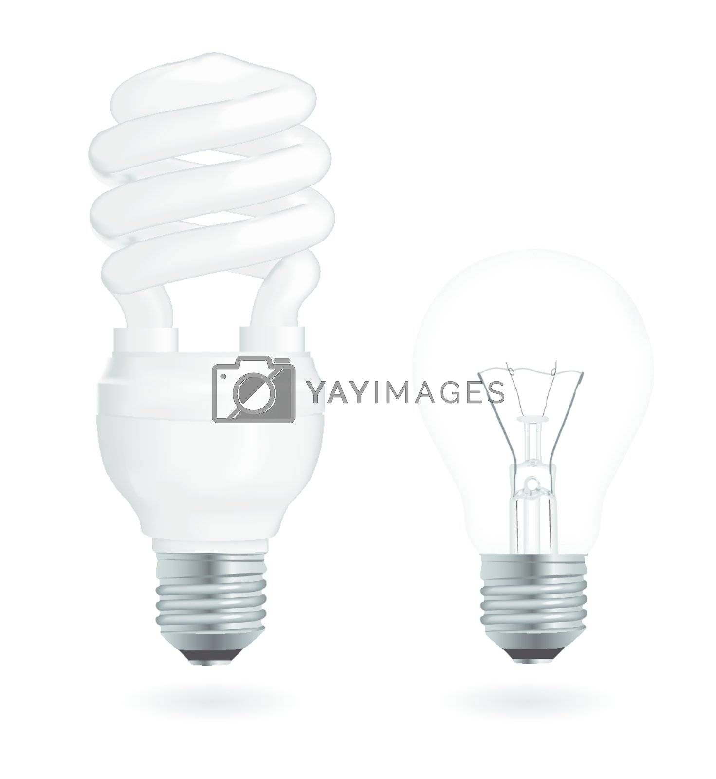 Incandescent and fluorescent energy saving light bulbs. Vector Illustration.
