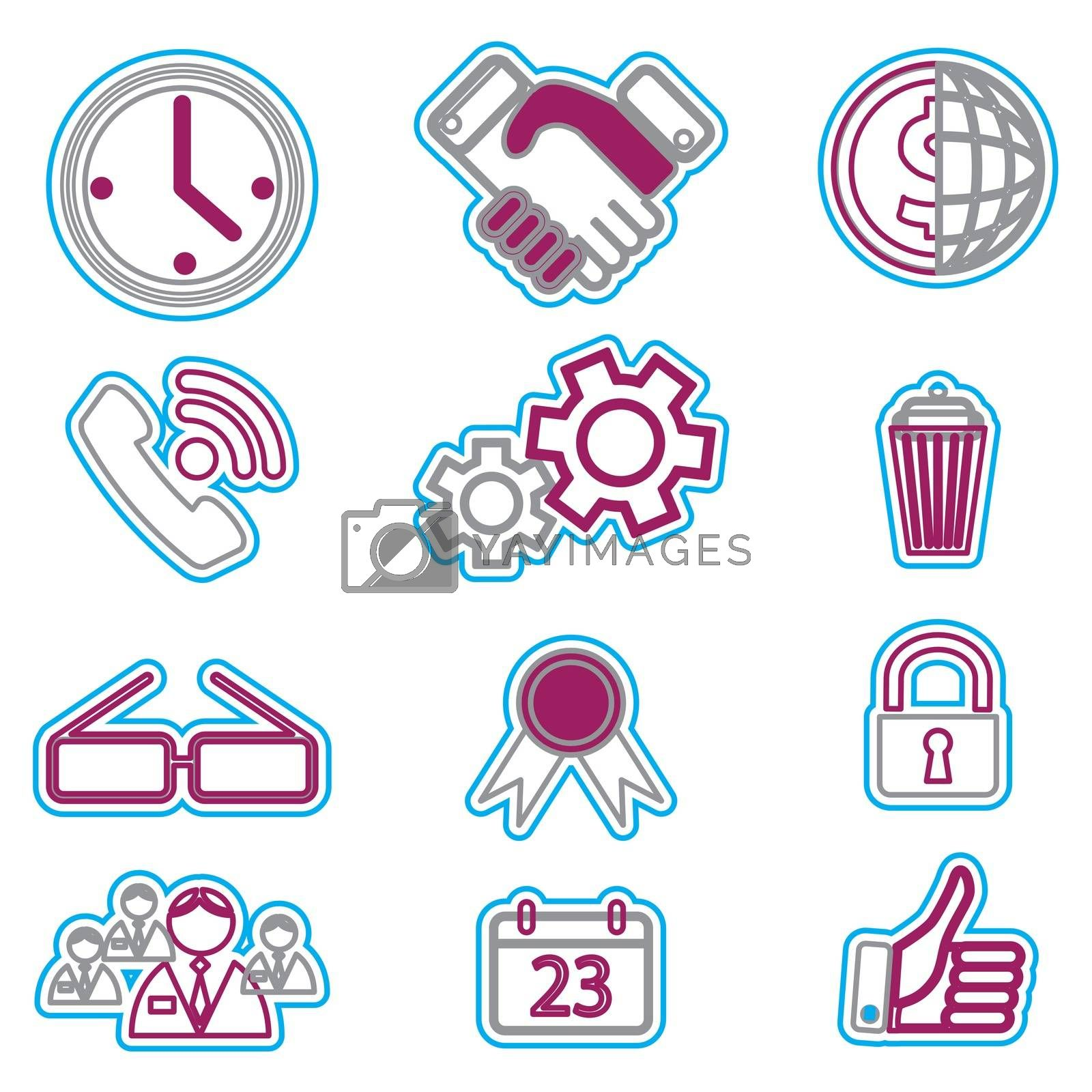 Vector business icons set 6. Vector Illustration EPS 8.