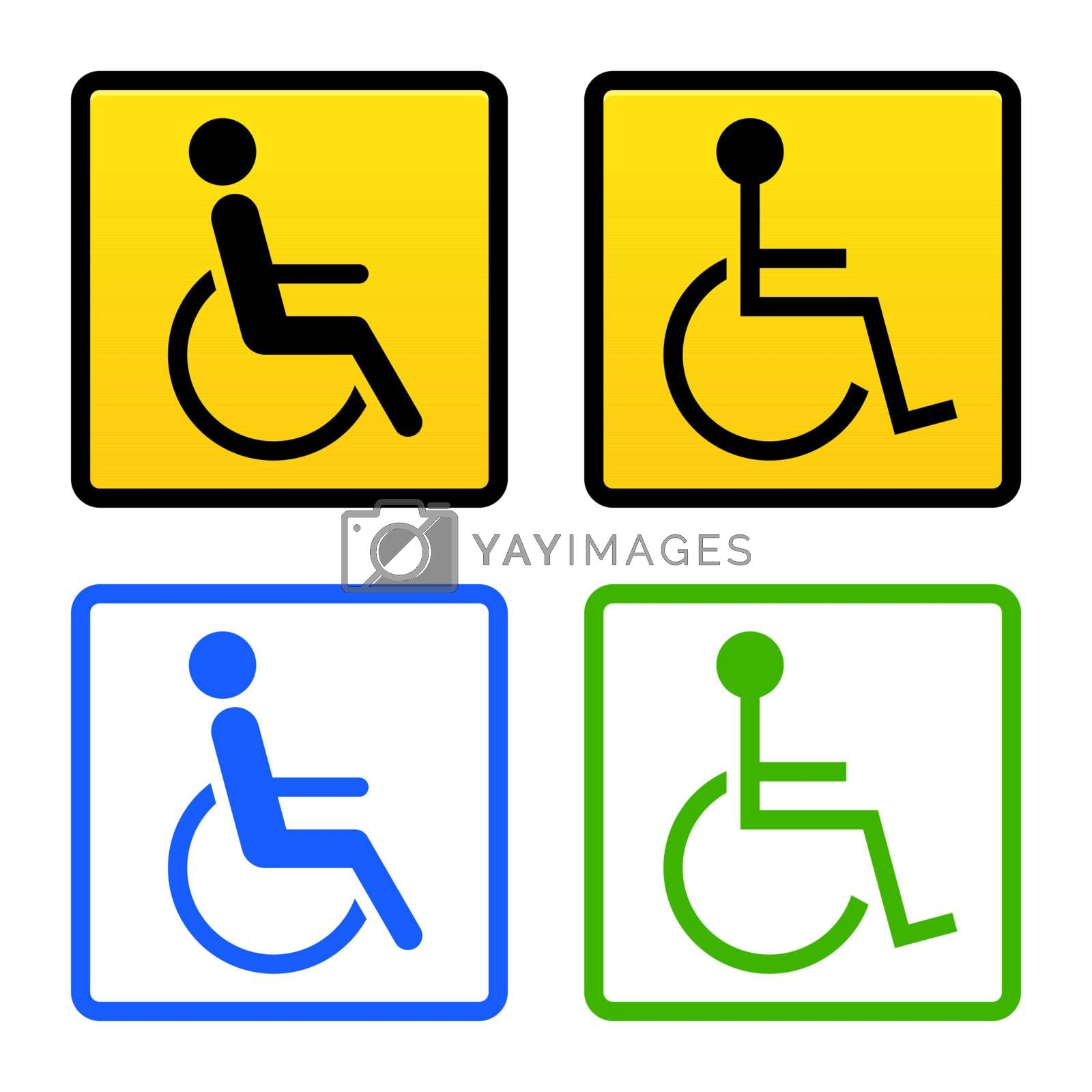 Universal symbol of handicapped person on wheelchair