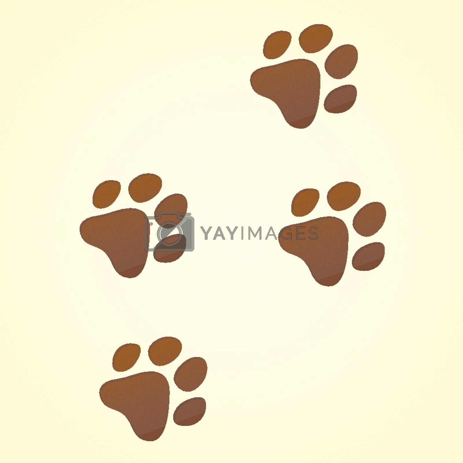 Brown Wildlife illustration of Animal trace on light brown background