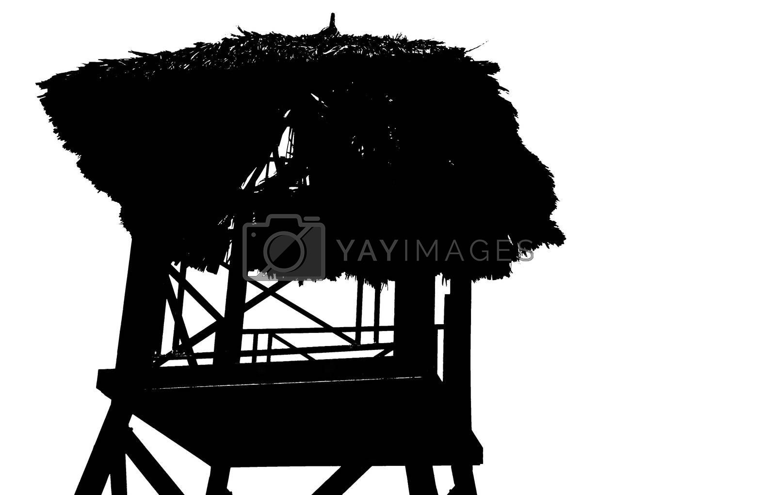 Silhouette view of tropical beach watchtower