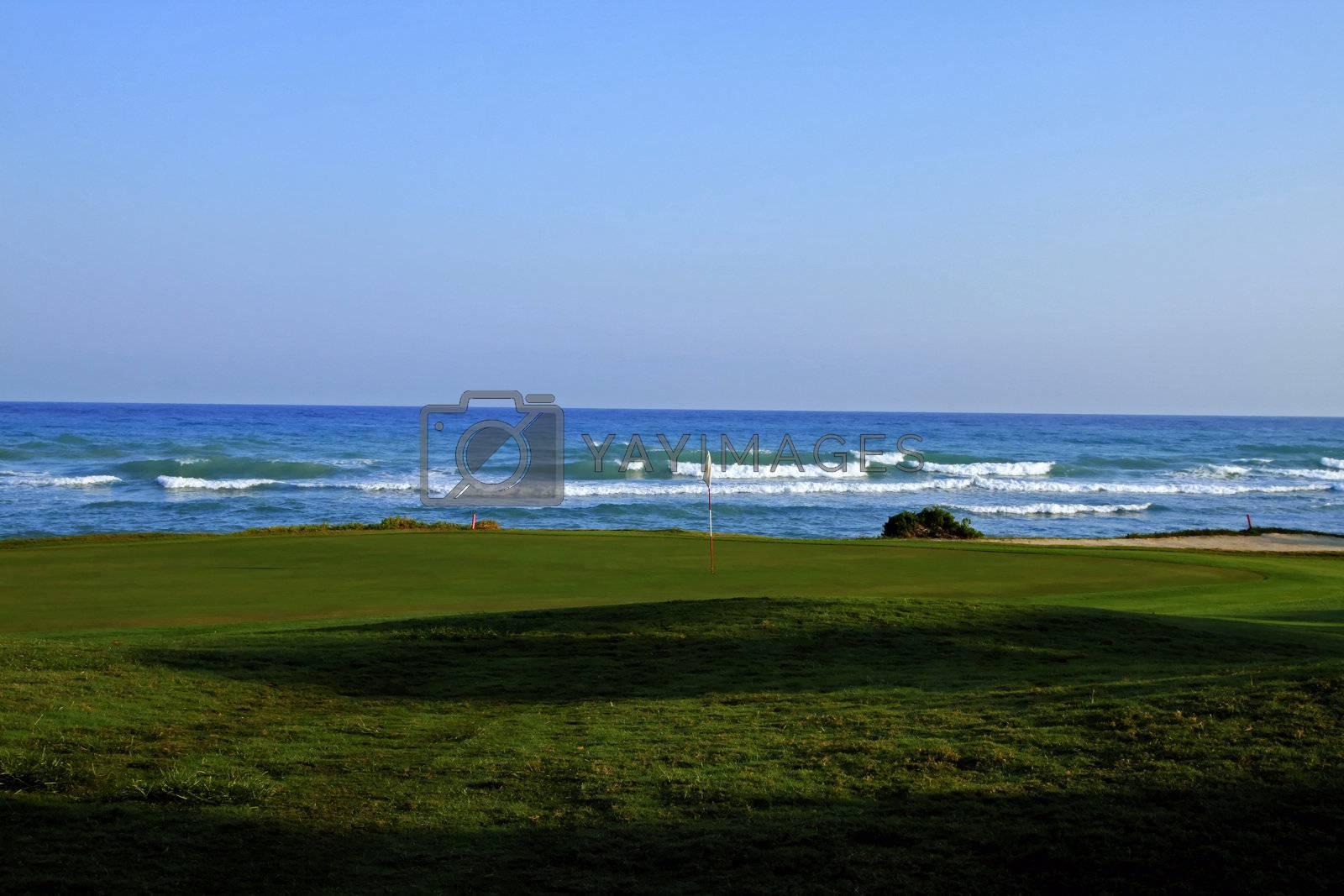 Golf course on a tropical coast sunny