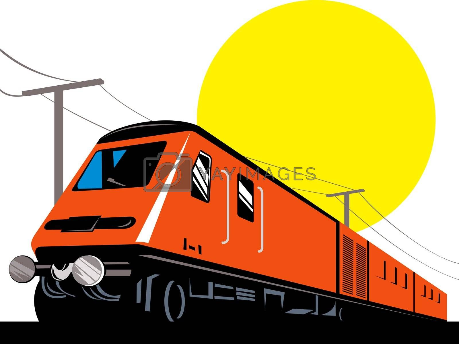 illustration of a diesel train locomotive coming up on railroad done in retro woodcut style
