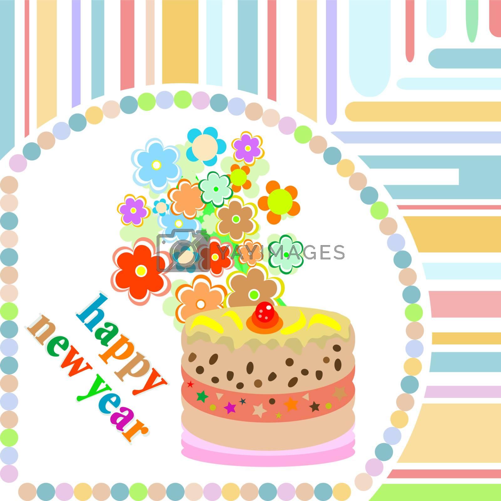 Happy New Year greeting card. vector Christmas holiday 2012