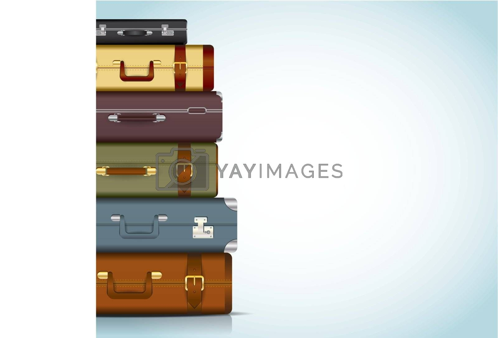 This image is a vector file representing a collection of travel suitcases. / Travel Suitcases