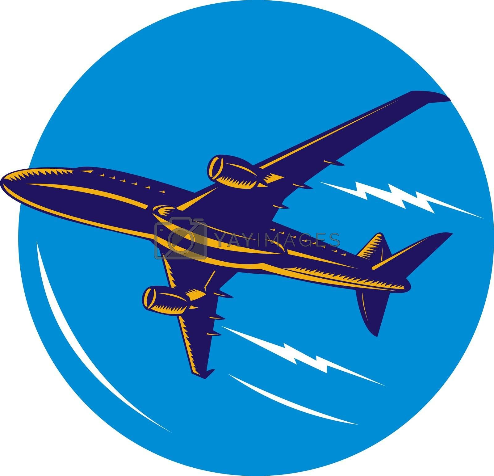 illustration of a commercial jet plane airliner on isolated background