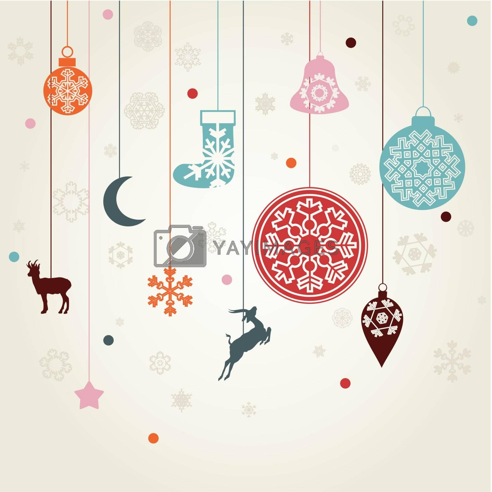 Christmas toys on threads. A vector illustration