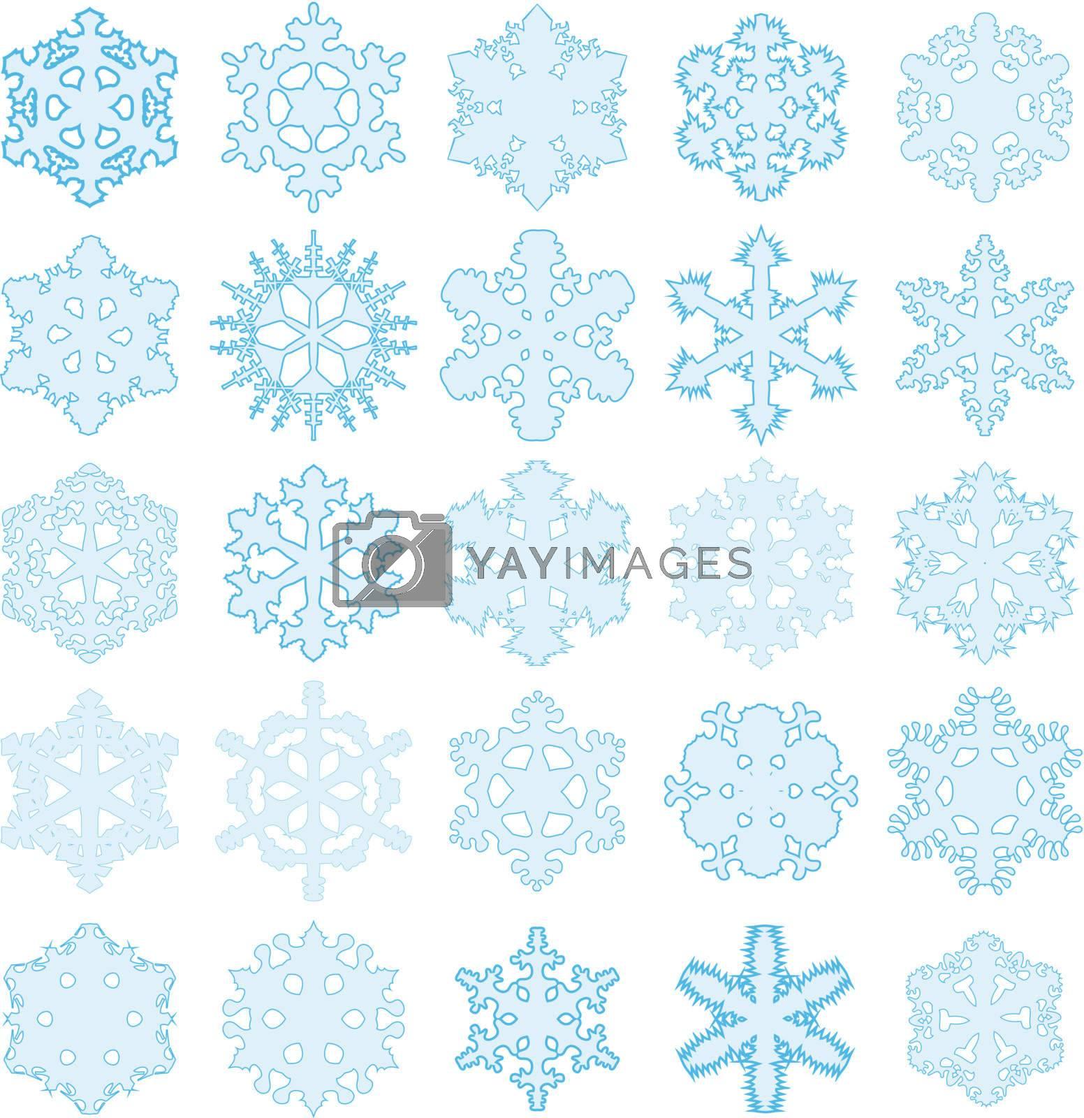 illustration, series of twenty-five original snowflakes