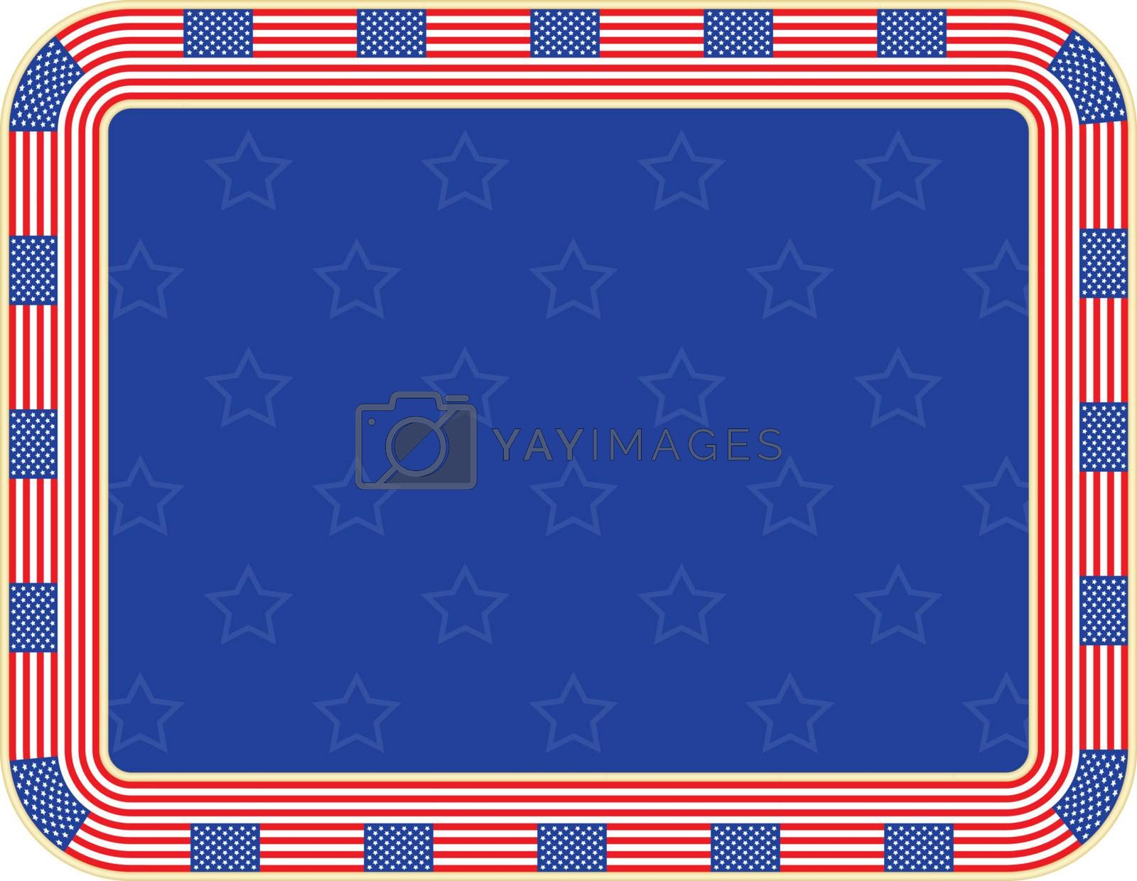 Independence Day background with frame made of United States flags