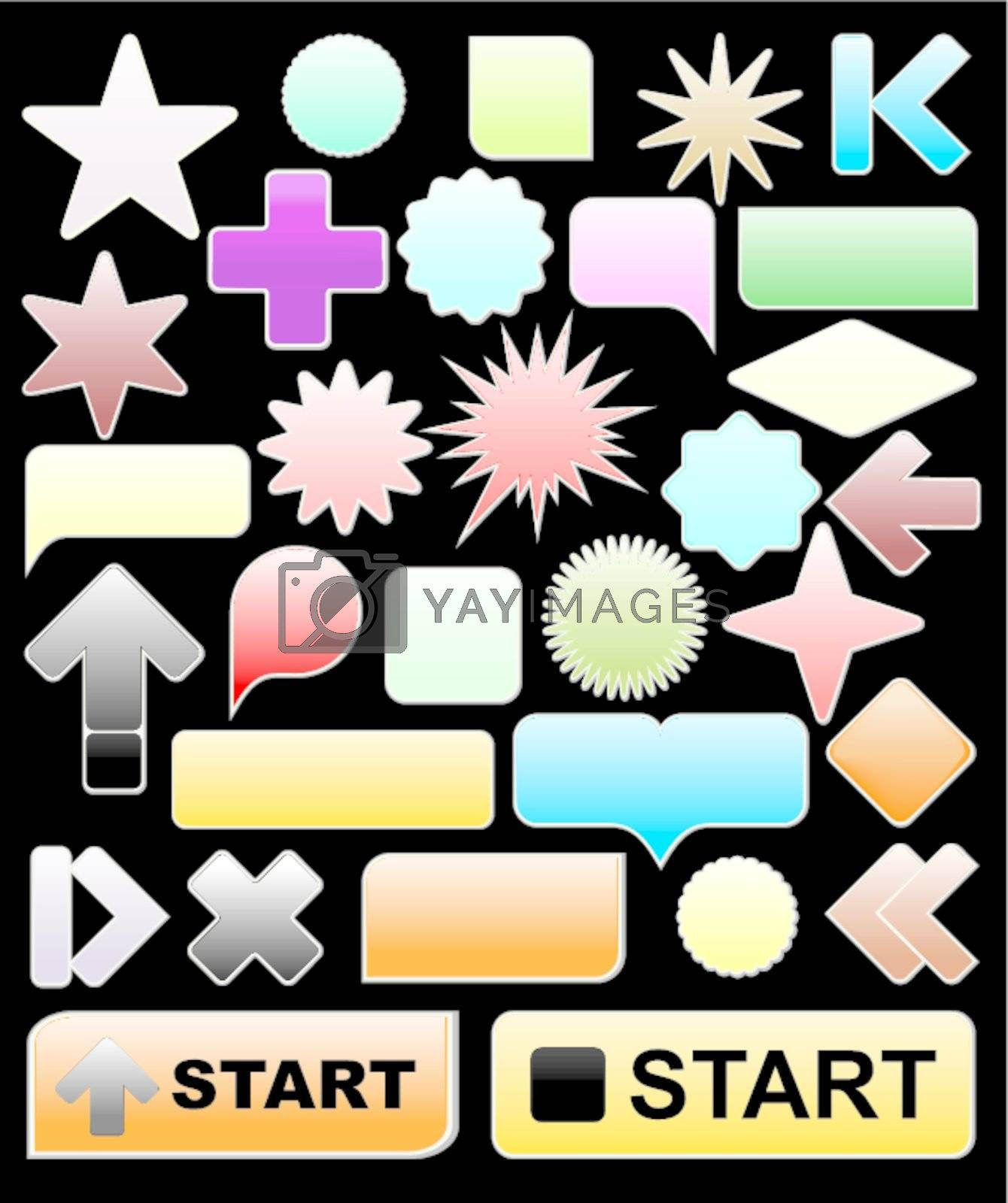 bright web elements, collection of brightly colored, glossy icons