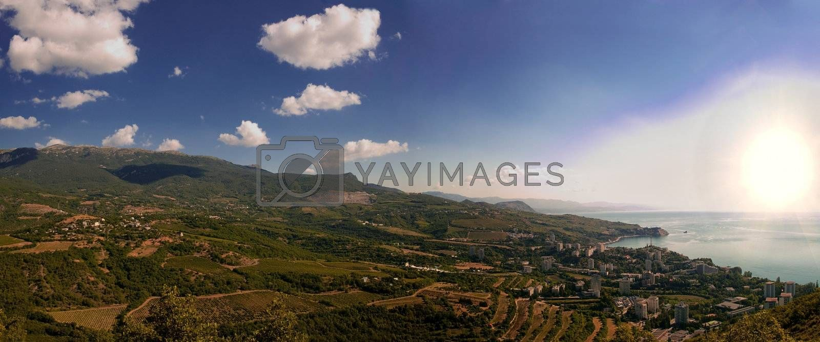 mountain landscape panorama, top view