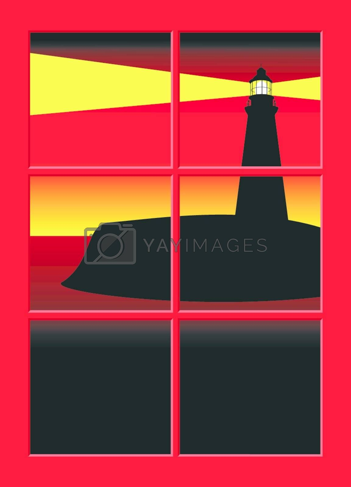 Illustration of a lighthouse seen through a window at sunset