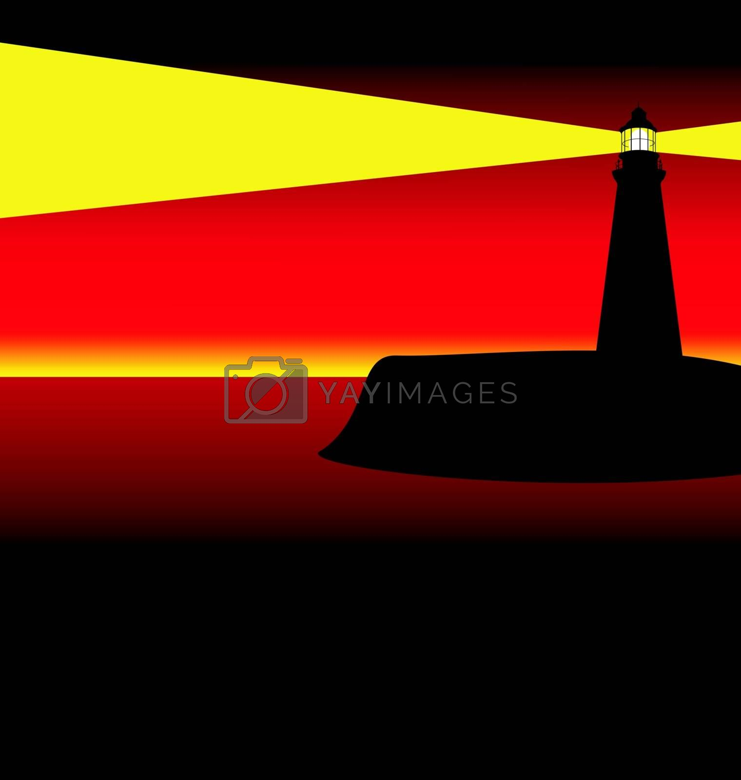 Illustration of a lighthouse at sunset