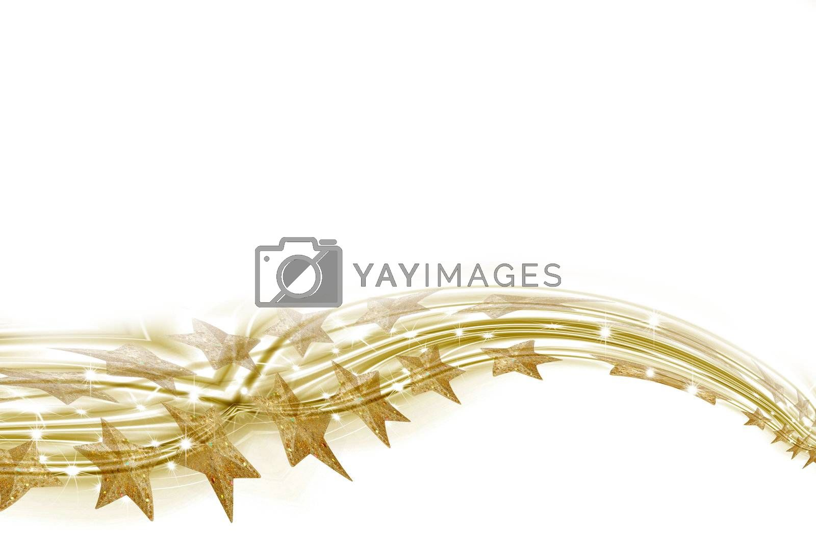 Christmas trail of golden stars on a white background