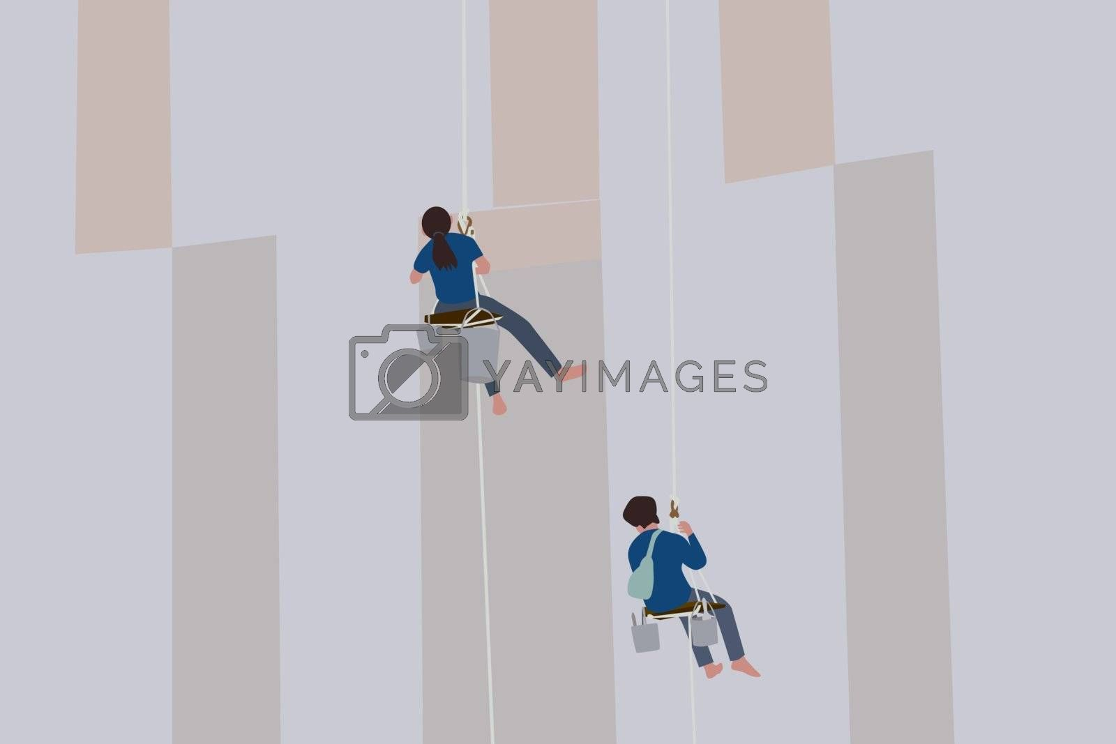 Vector of painters and harnesses hanging high on concrete wall