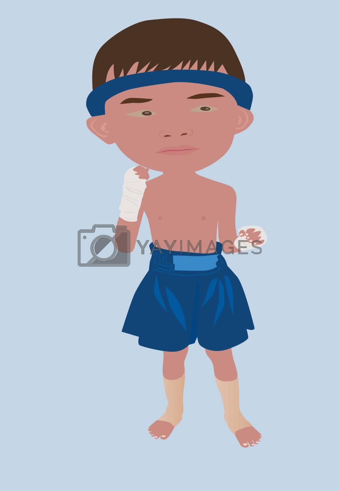 Vector illustration of Muay Thai or Thai boxing boy