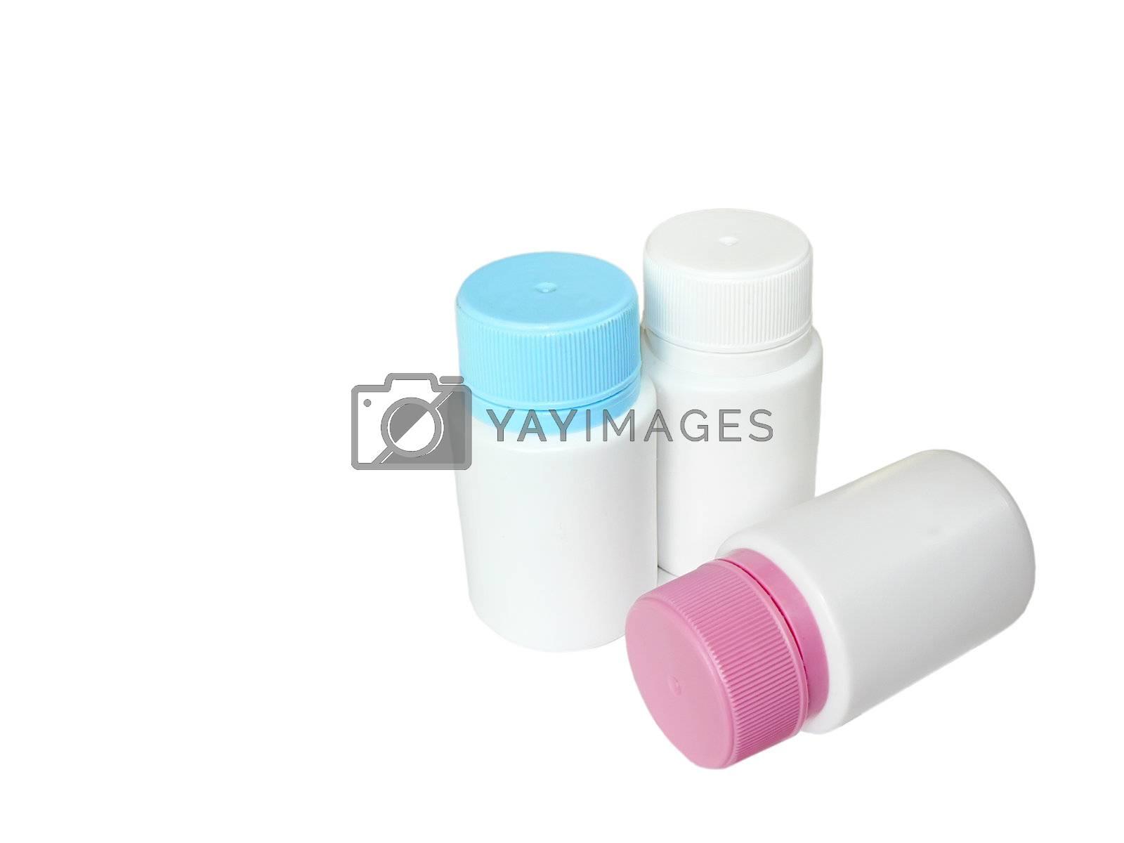 three bottle multicolor isolated on white background