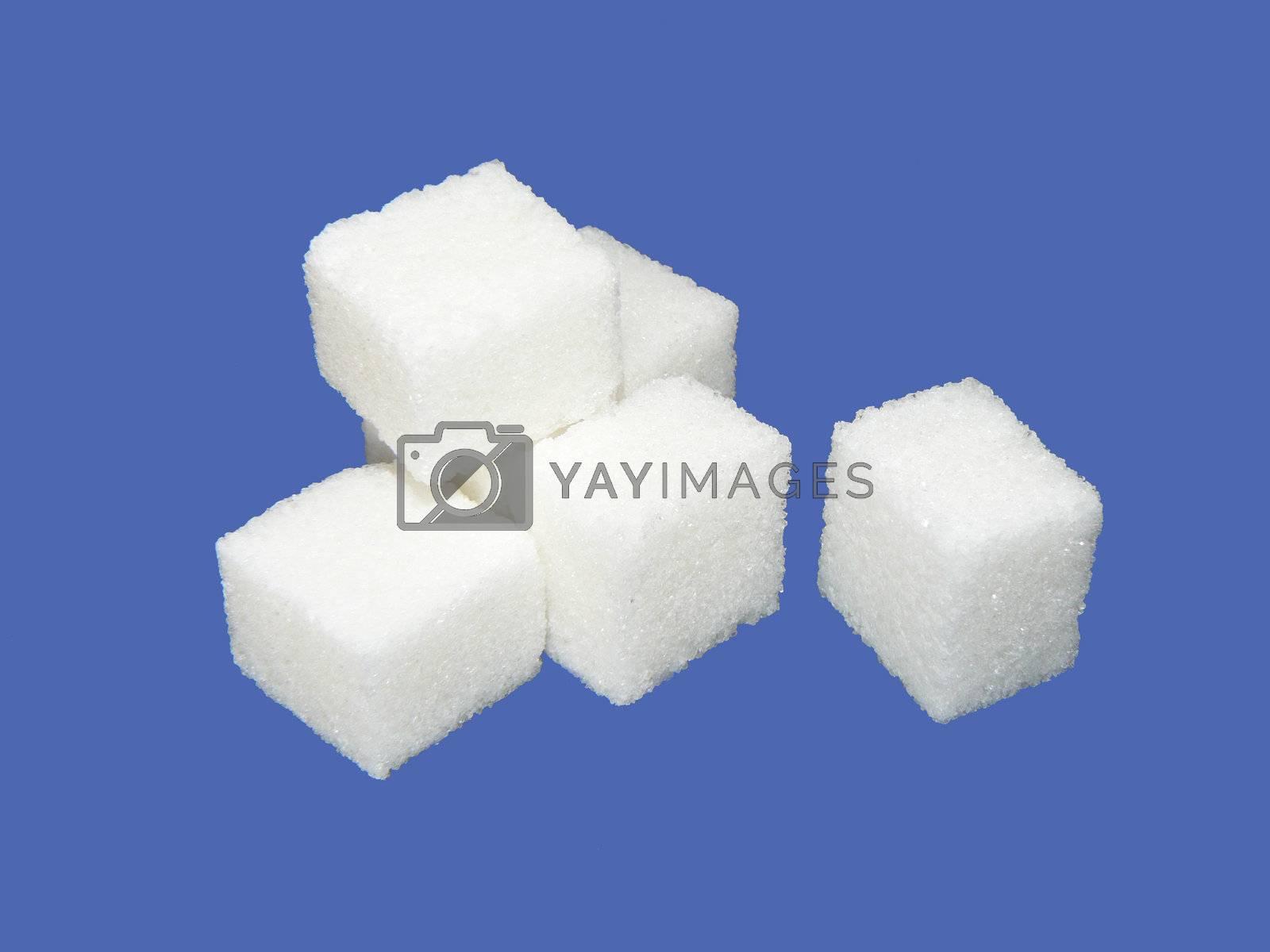 Sugar crystal on blue background