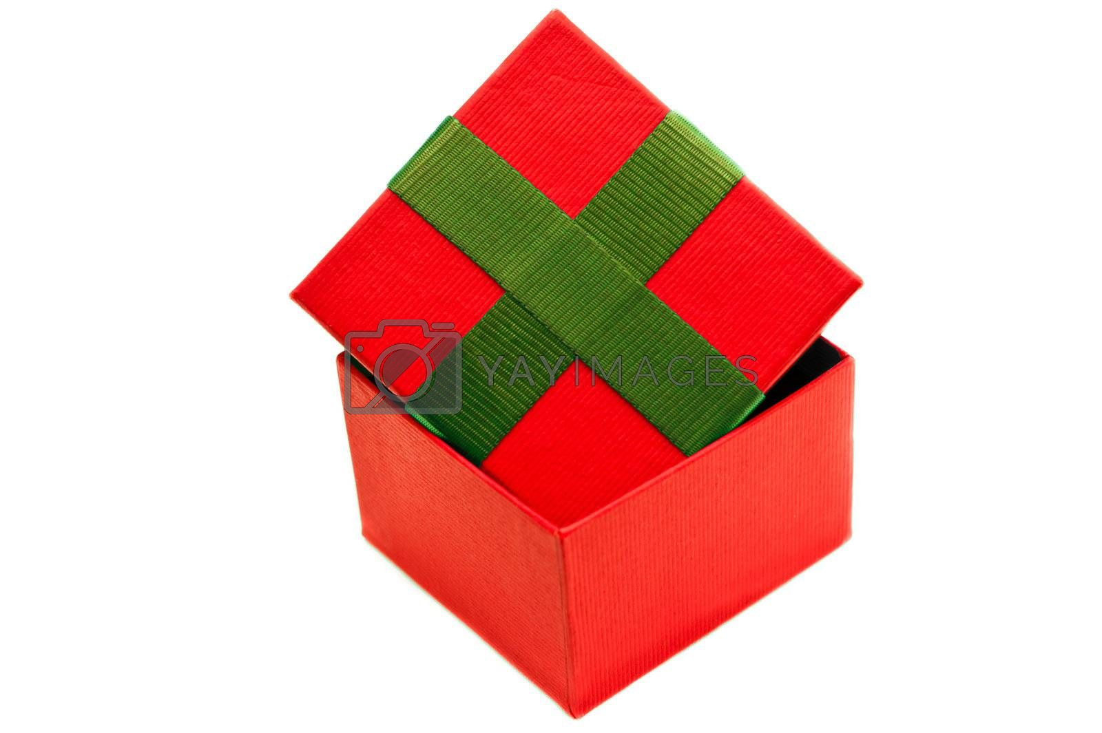Isolated red green present box