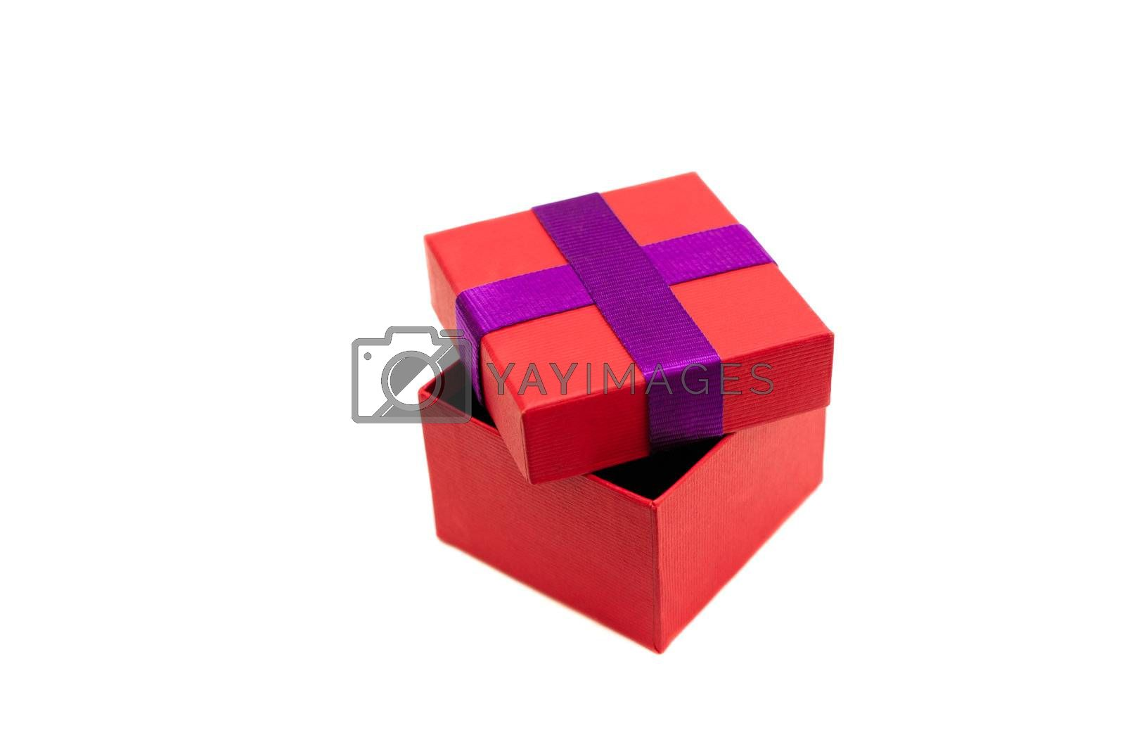 Isolated red purple opened present box