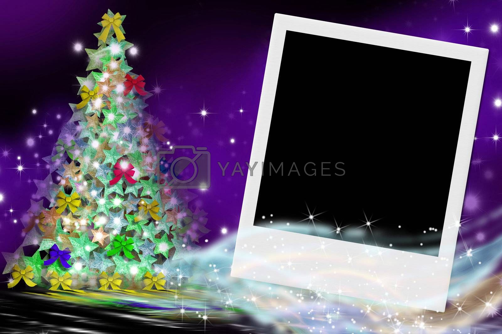 fir Christmas card and empty picture frame