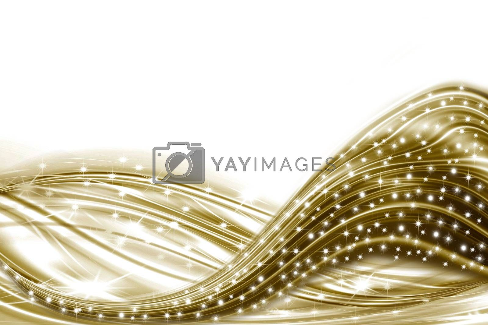 white card with stars and golden undulation