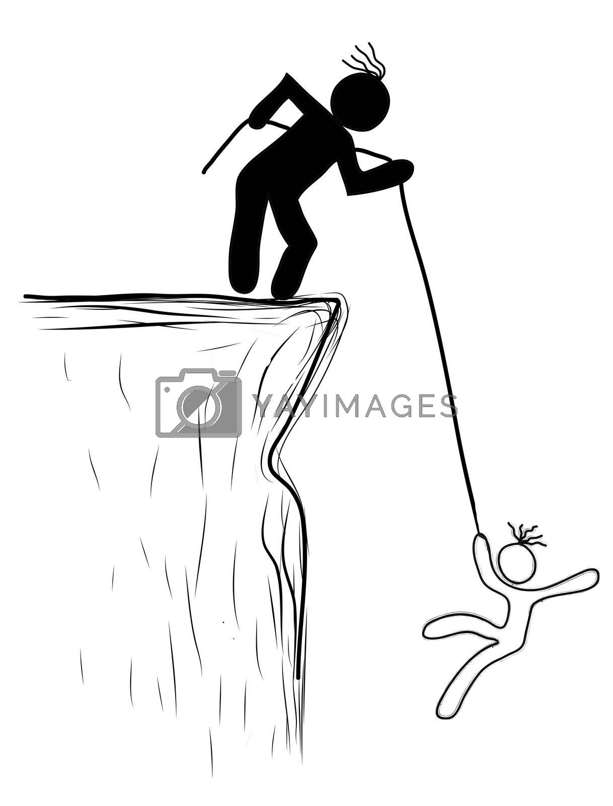 drawing person pulled the rope from the cliff. Helping, saved