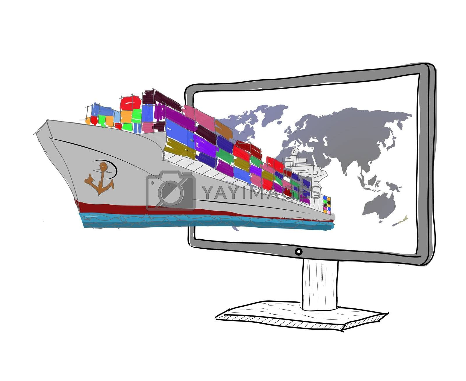 sketch concept of logistics. Cargo ship