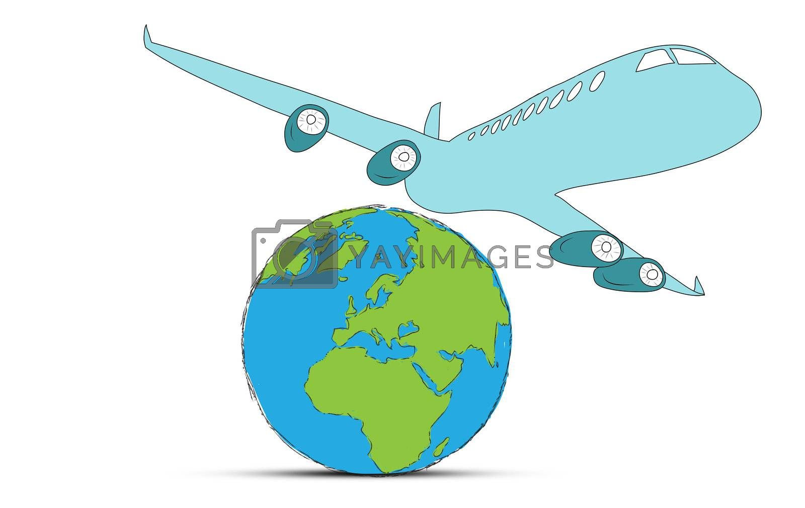 sketch airliner with a globe