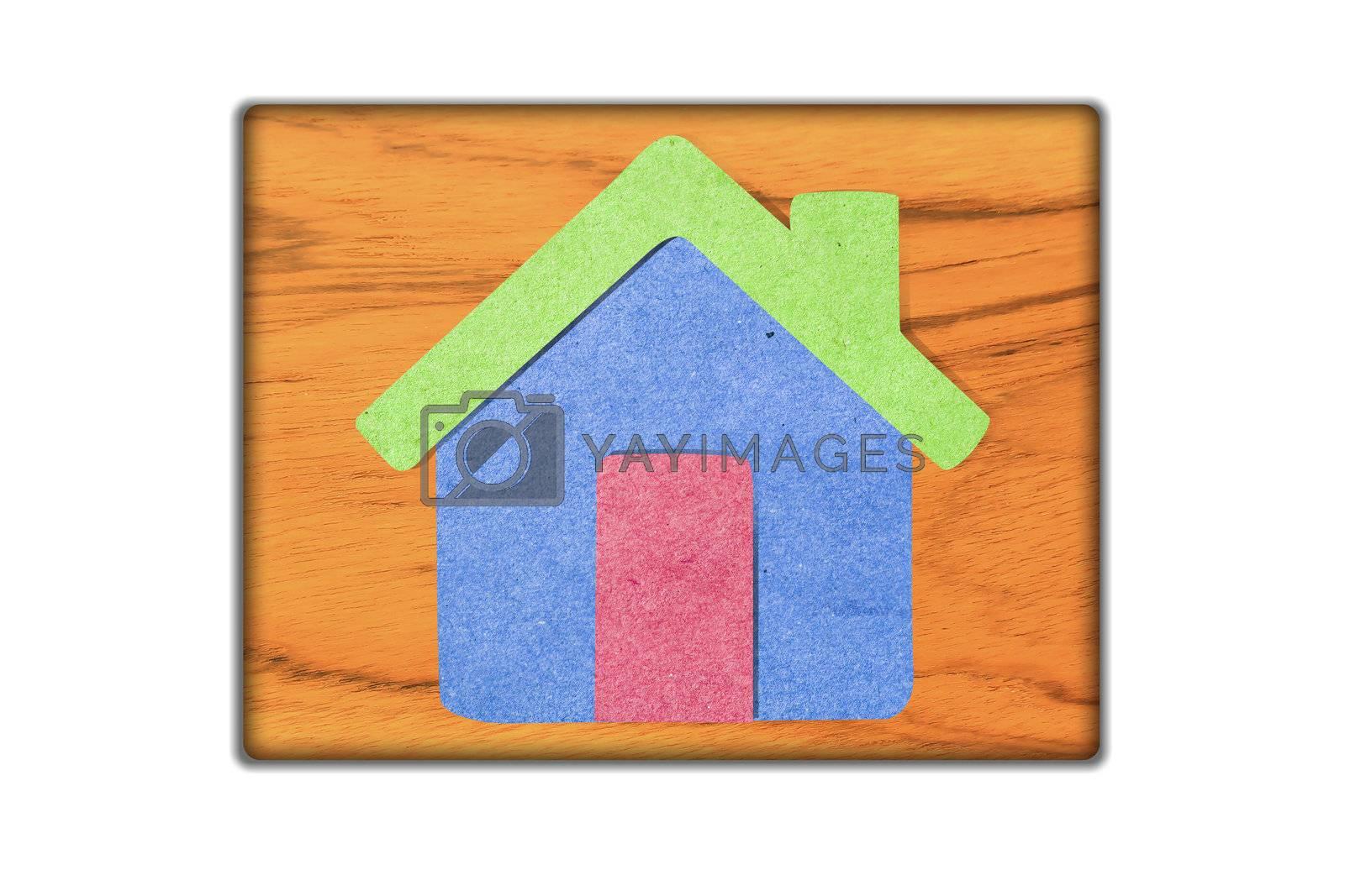 House icon  on   wood background.
