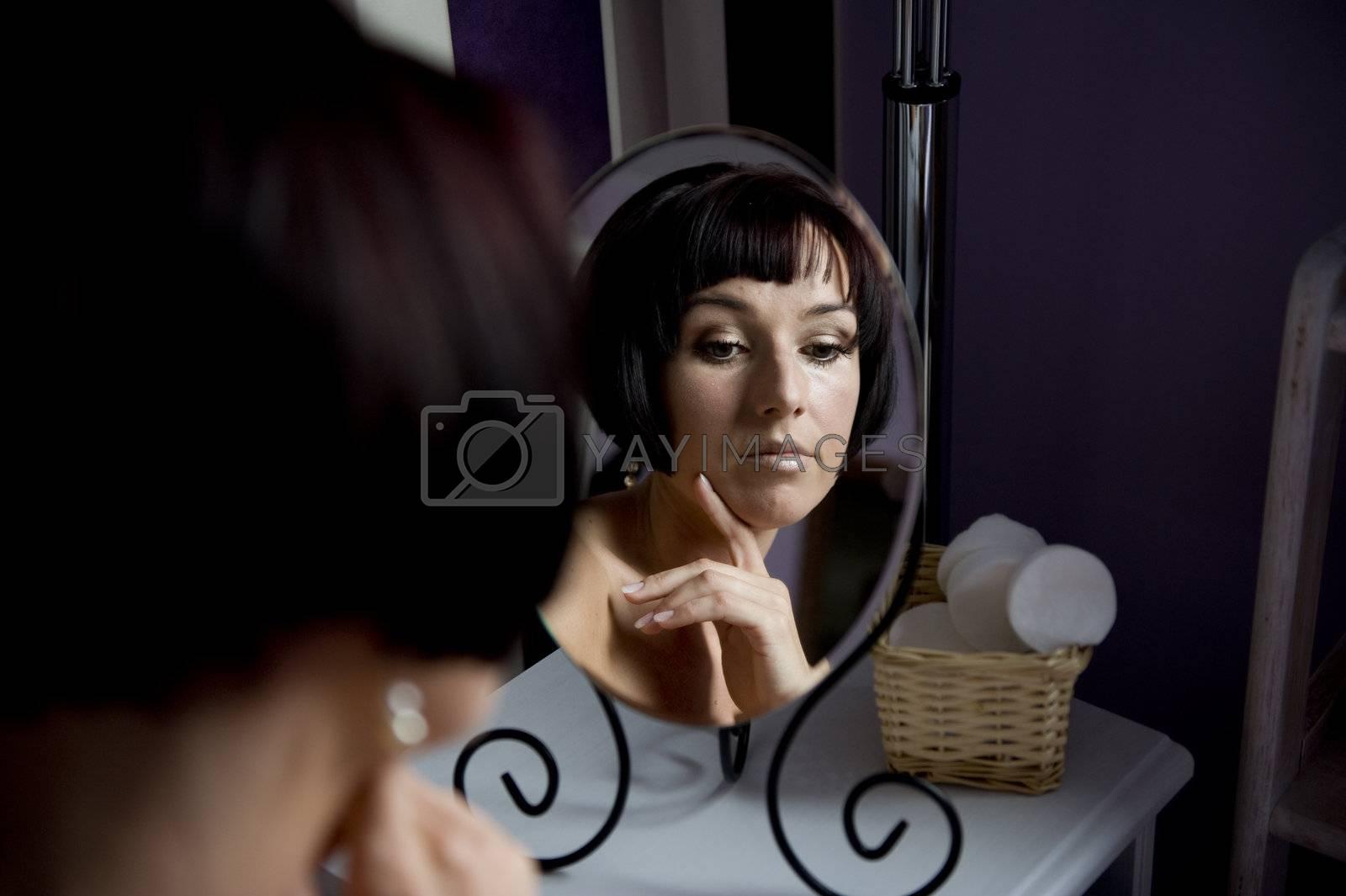 beautifull woman in the mirror,