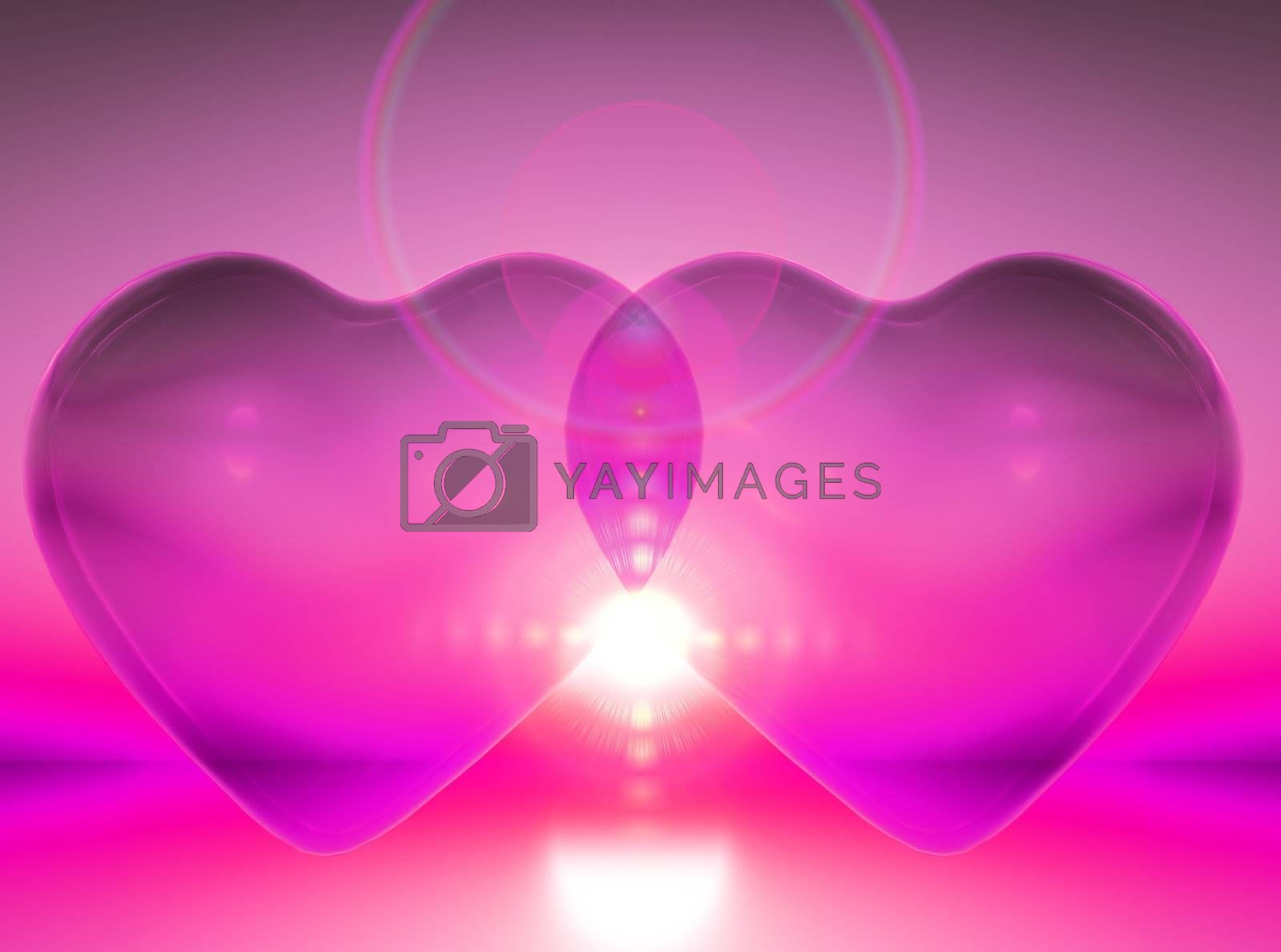 union of two hearts in pink colors