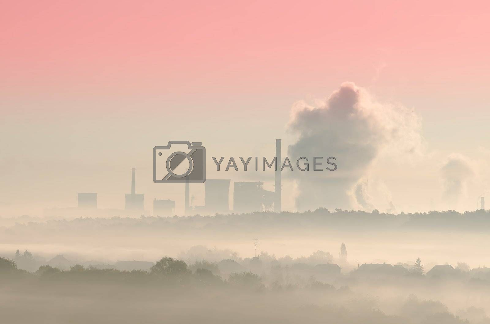 thermal station in the mist