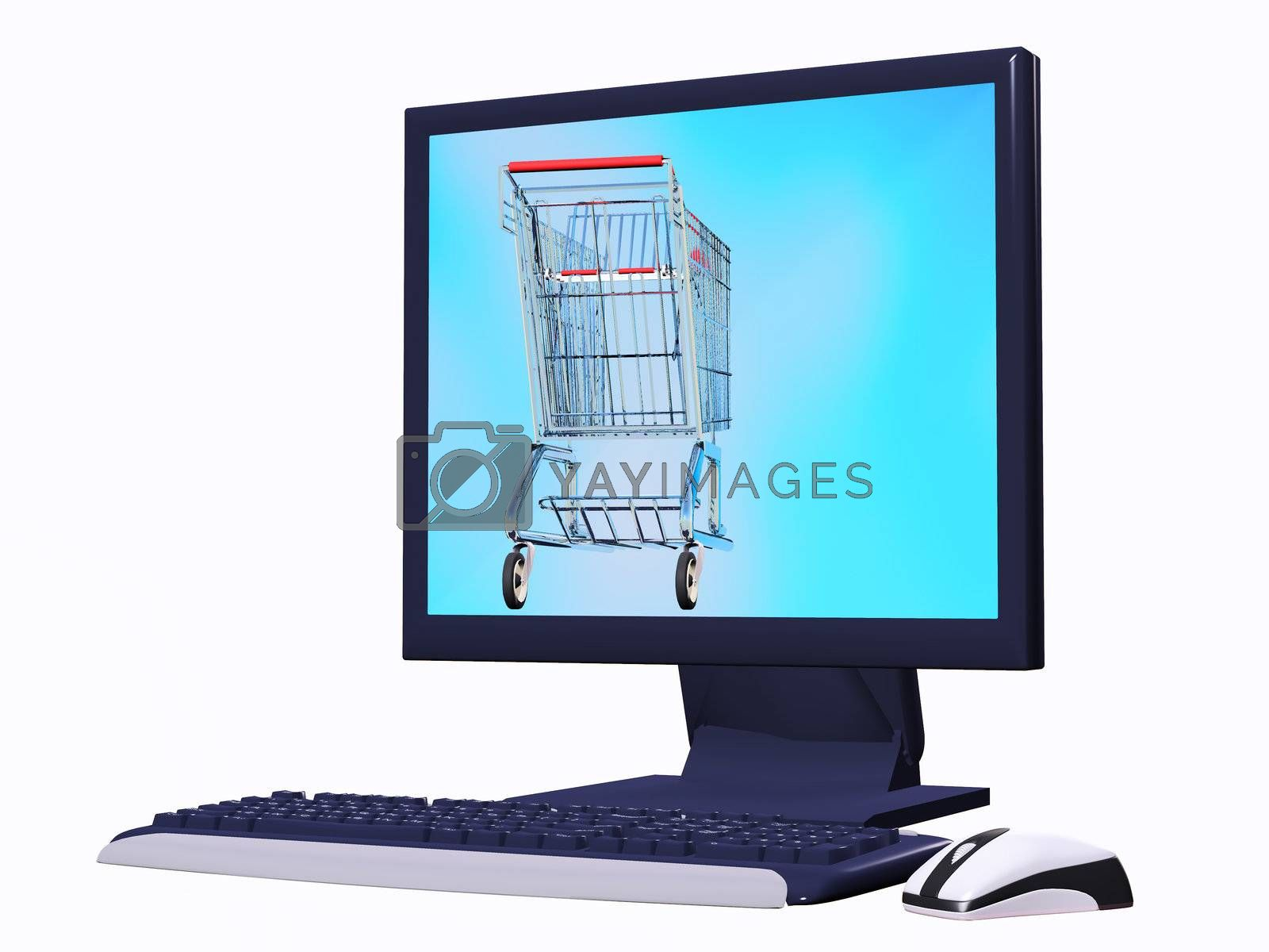 computer screen with a shopping cart inside conceptual idea of e commerce