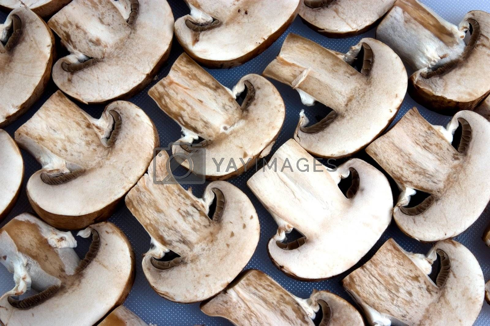 A group of sliced mushrooms laid out on a chopping board
