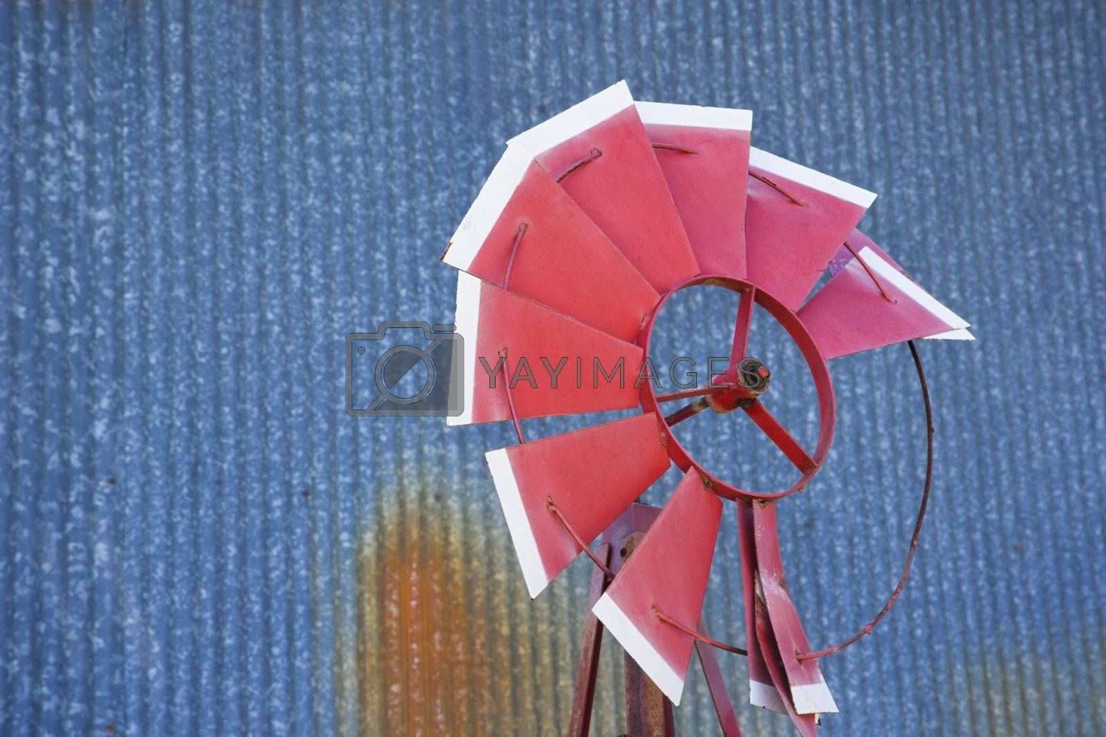 Old red broken windmill against rusted blue corrugated metal building.