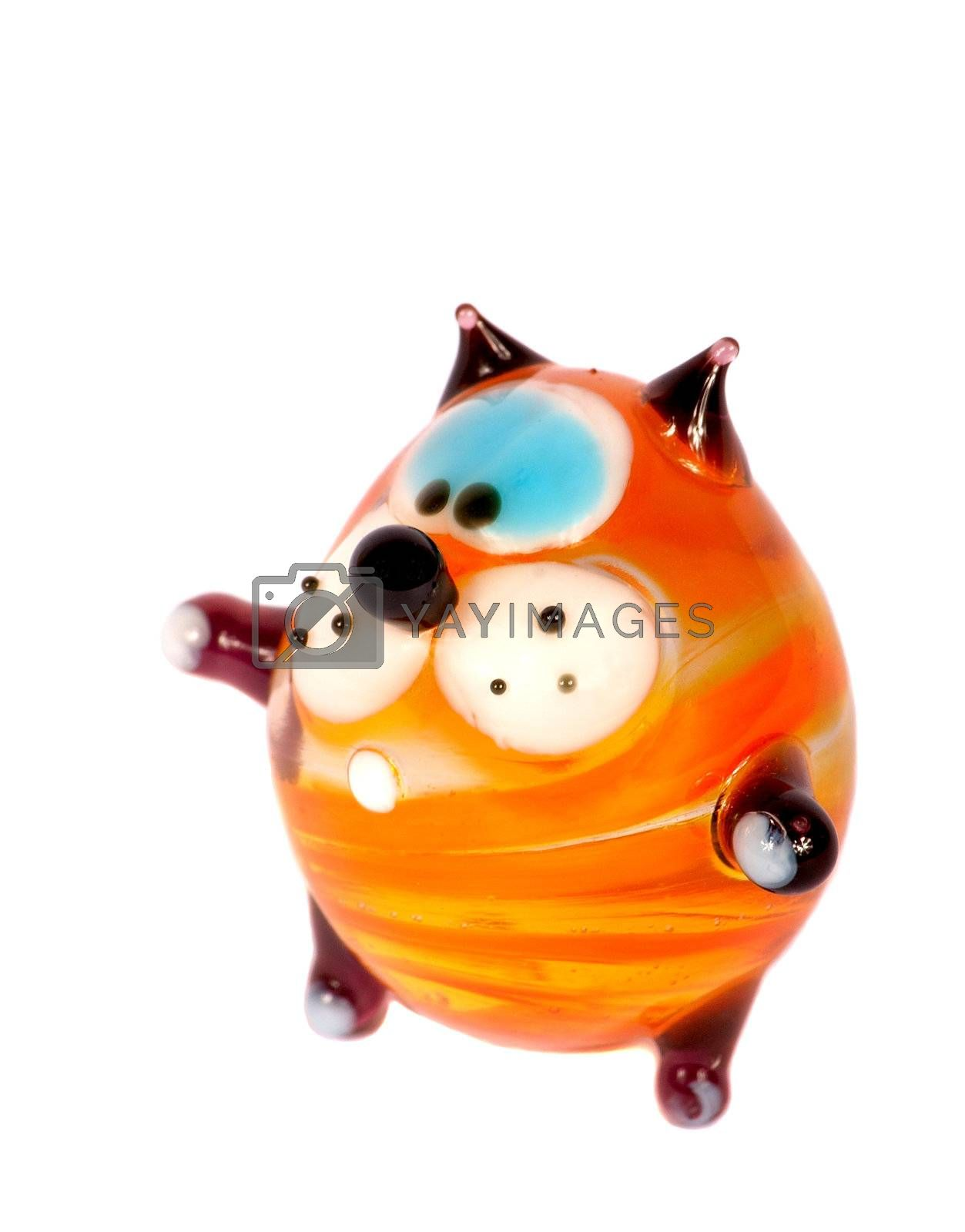 Toy cat from glass on a white background