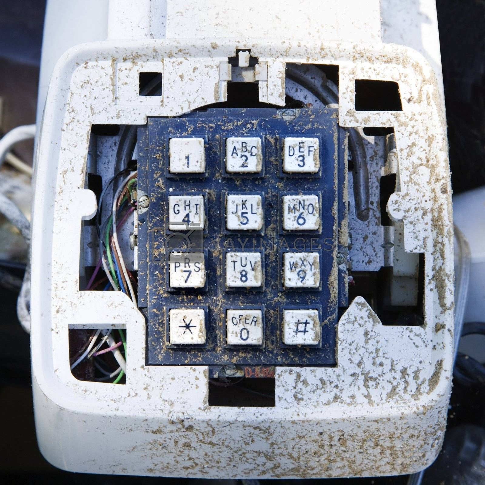 Closeup of old dirty telephone.