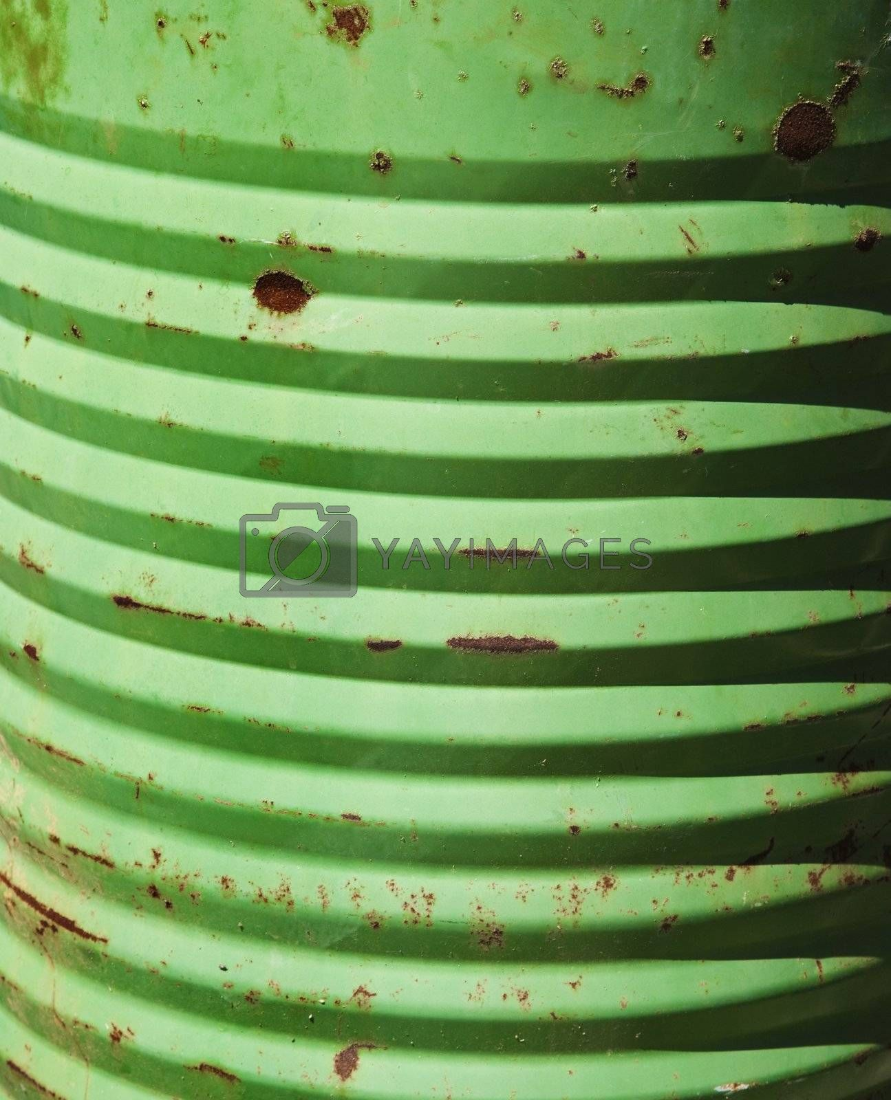 Closeup of metal green container.