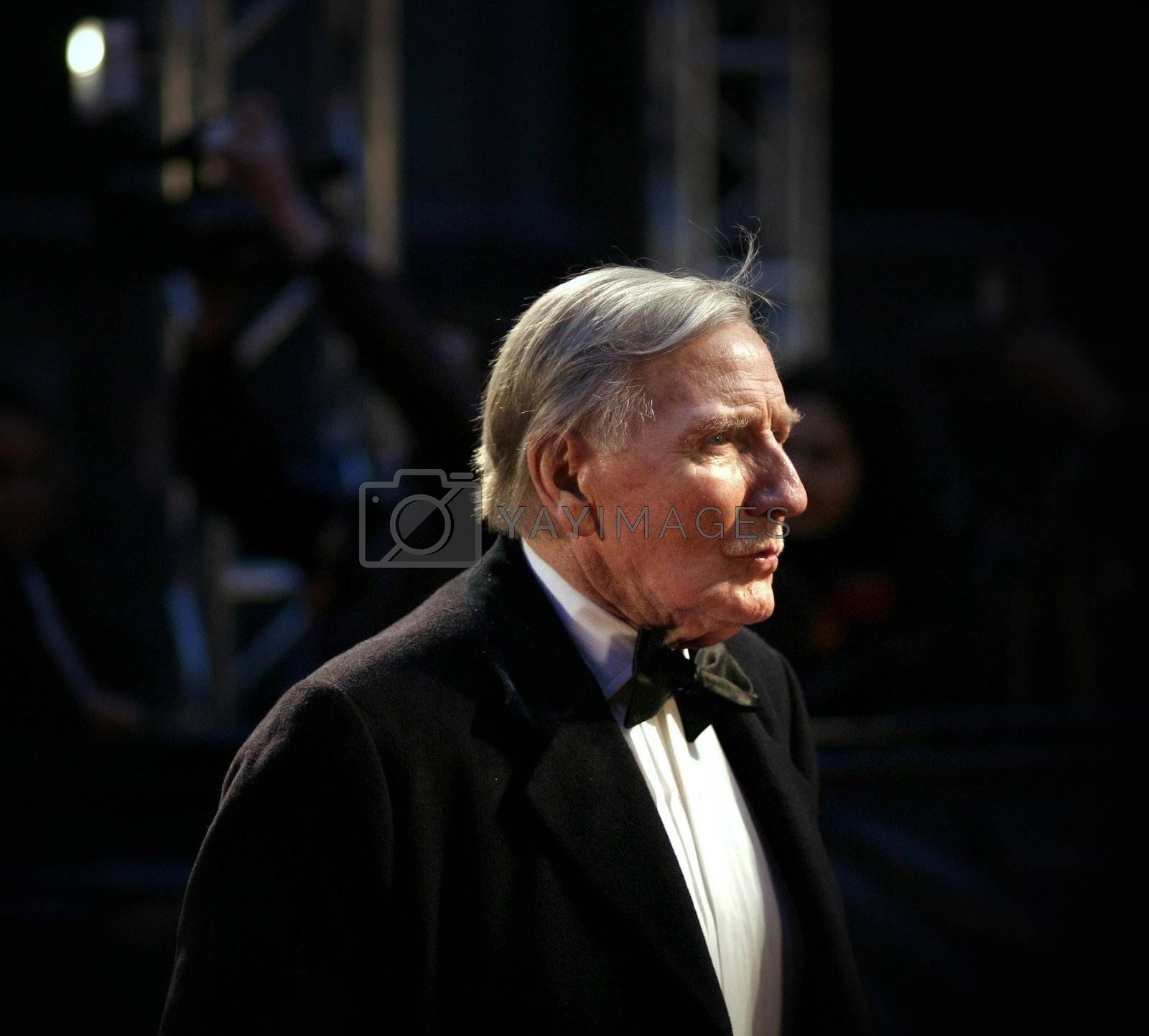 Actor Leslie Phillips arrives at The Orange British Academy Film Awards at the Royal Opera House on February 11, 2007 in London, England.