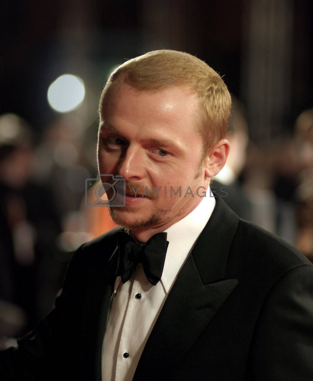 Actor Simon Pegg arrives at the Orange British Academy Film Awards in London's Royal Opera House on February 11