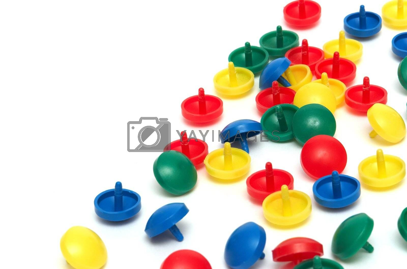 Small multi-coloured figures on a white background