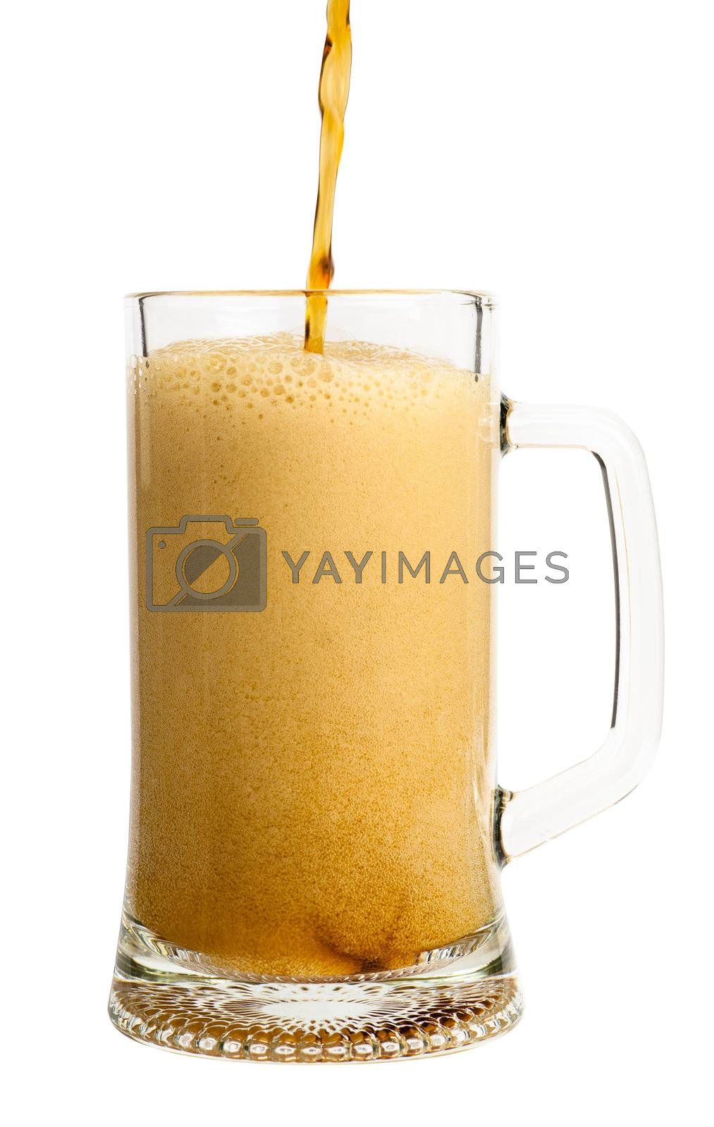Dark beer pouring into glass isolated over white background
