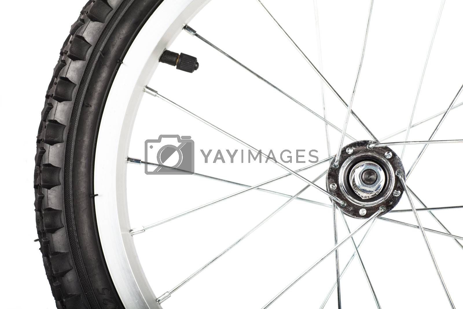 Front view of bike wheel isolated over white background