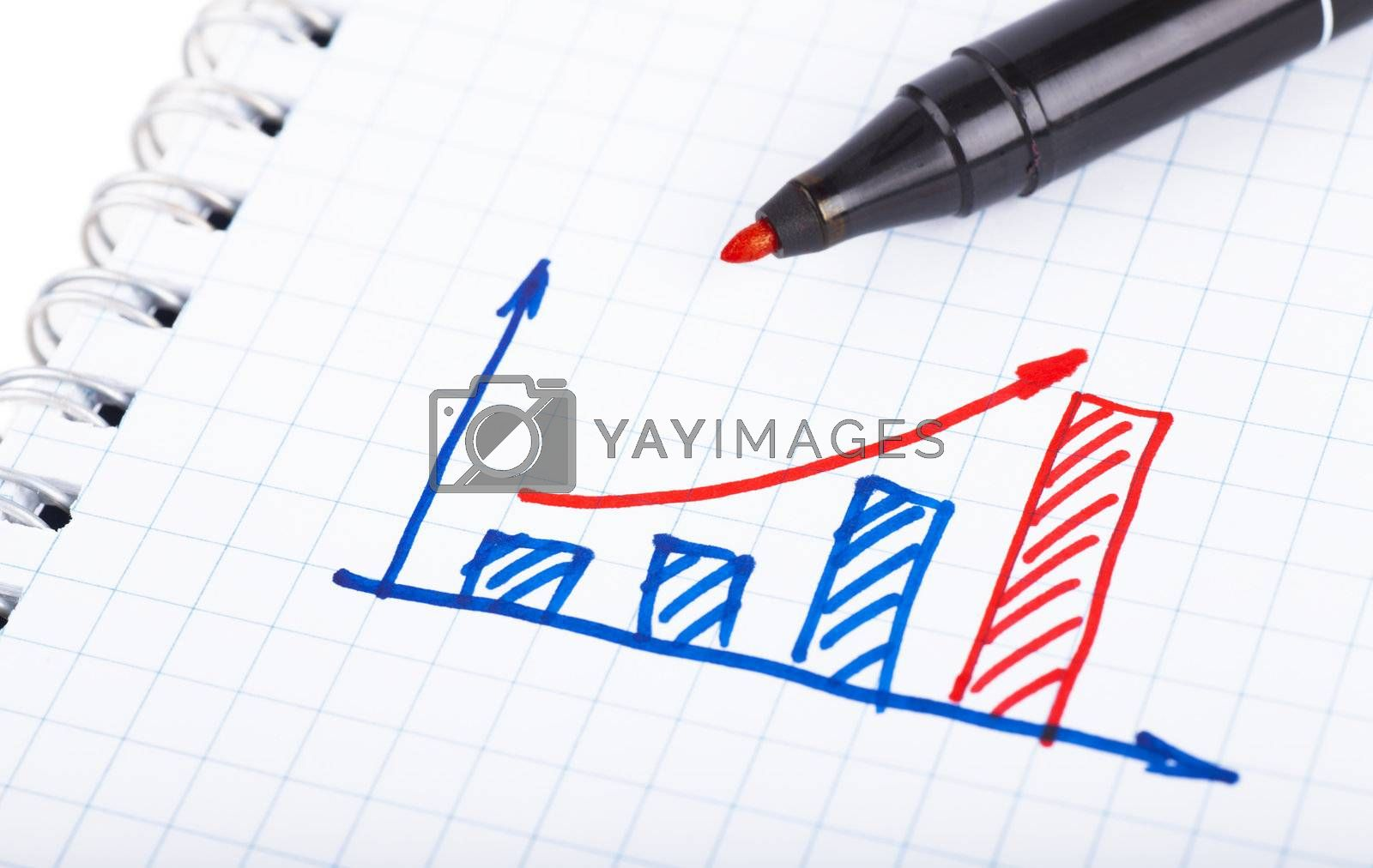 Graph drawn by hand on paper shit
