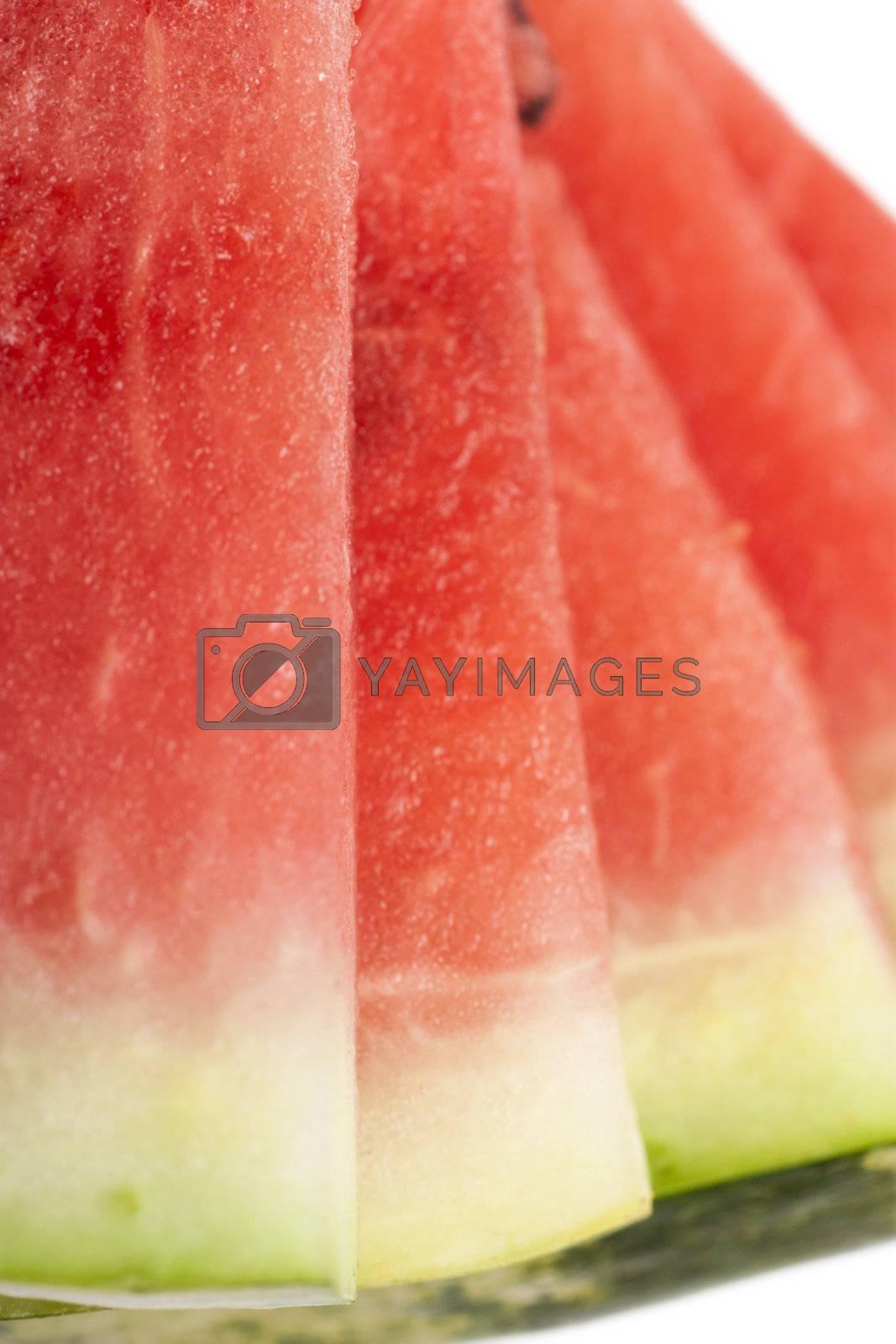 Macro view of fresh watermelon slices