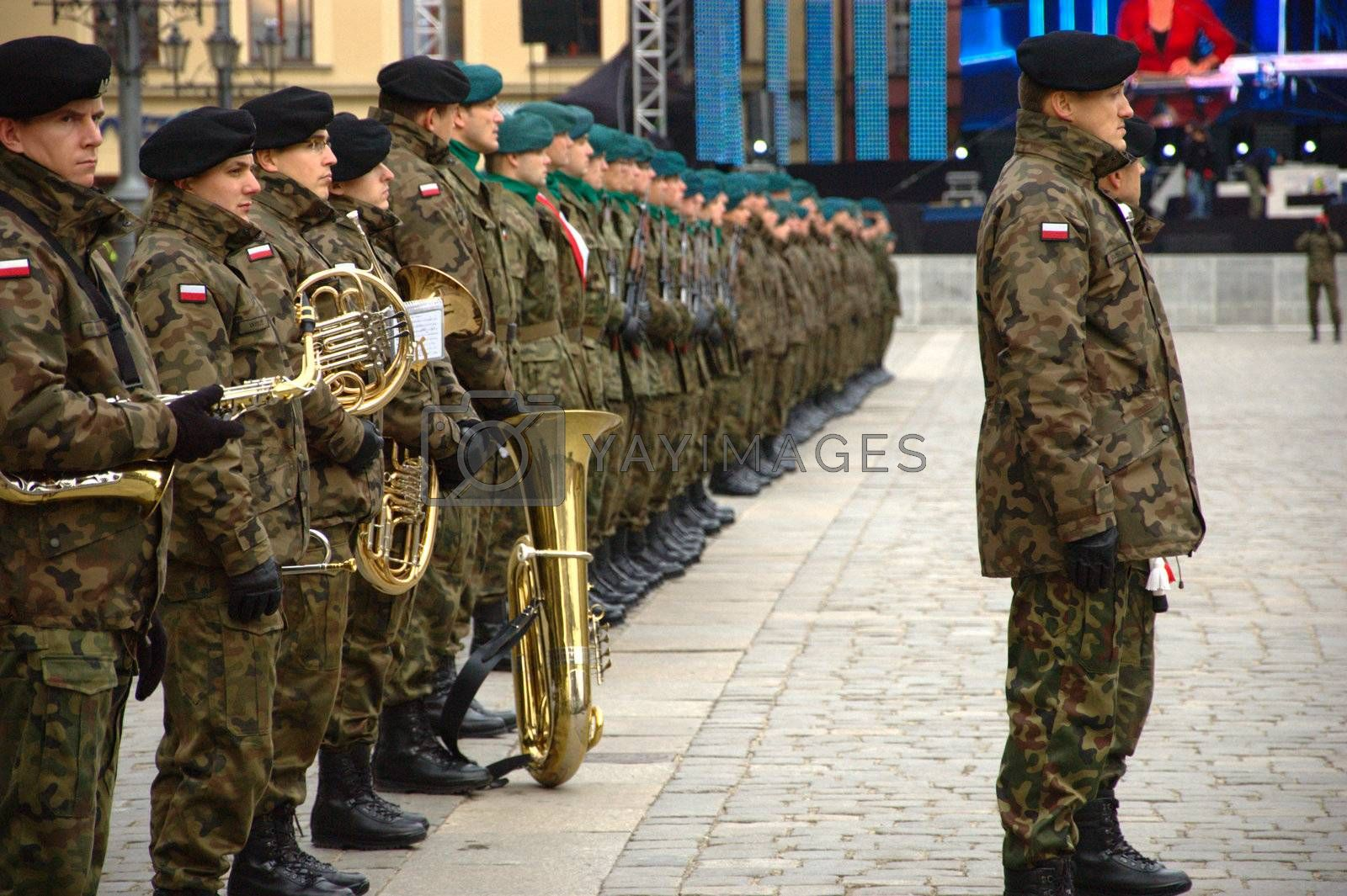 WROCLAW, POLAND - DECEMBER 2: Polish army, engineering training center for troops receives new army banner. Units gathering on December 2, 2011.