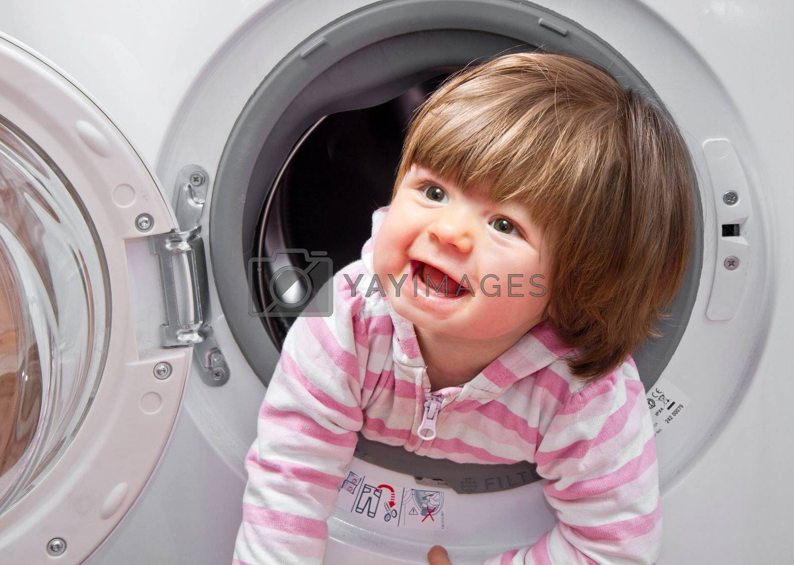 baby girl in the washing machine by lsantilli